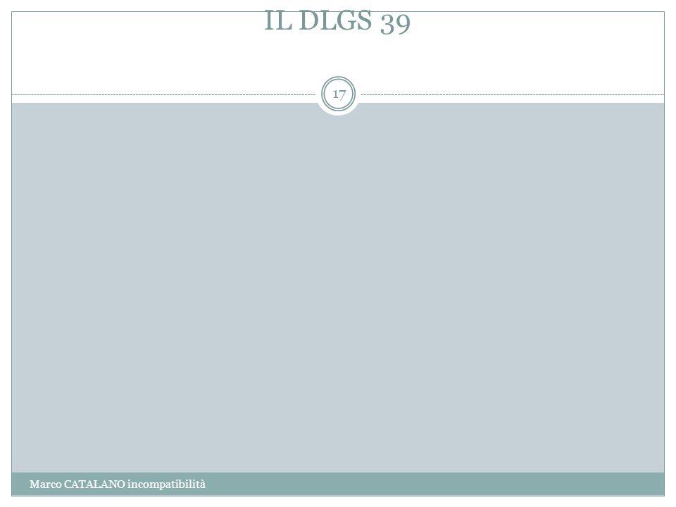 IL DLGS 39 Marco CATALANO incompatibilità
