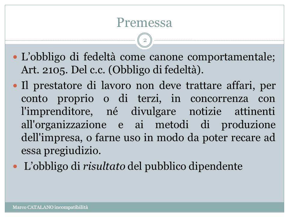 Premessa L'obbligo di fedeltà come canone comportamentale; Art. 2105. Del c.c. (Obbligo di fedeltà).