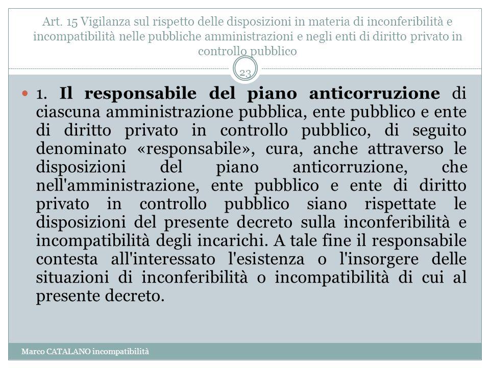 Art. 15 Vigilanza sul rispetto delle disposizioni in materia di inconferibilità e incompatibilità nelle pubbliche amministrazioni e negli enti di diritto privato in controllo pubblico