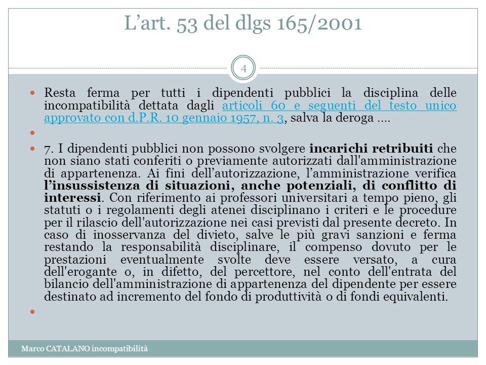 L'art. 53 del dlgs 165/2001