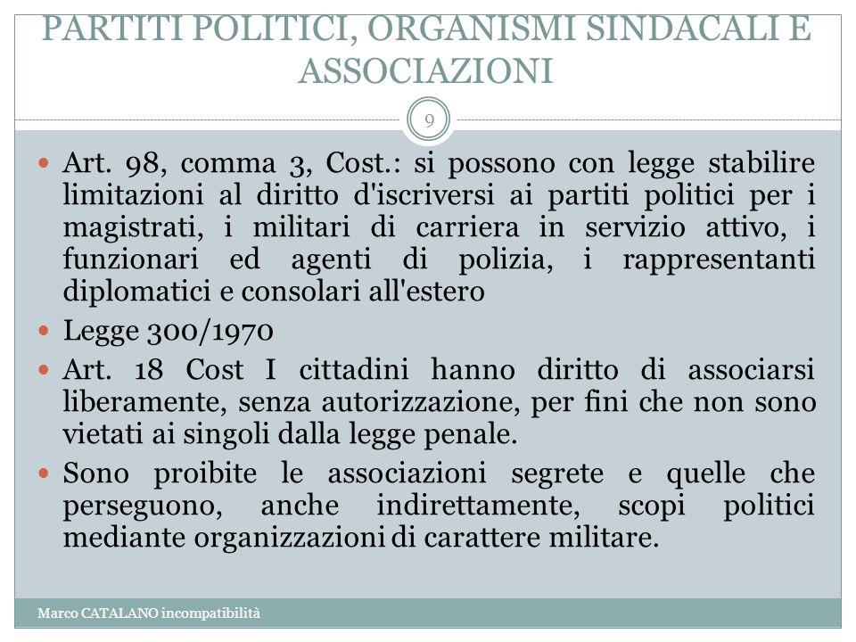 PARTITI POLITICI, ORGANISMI SINDACALI E ASSOCIAZIONI