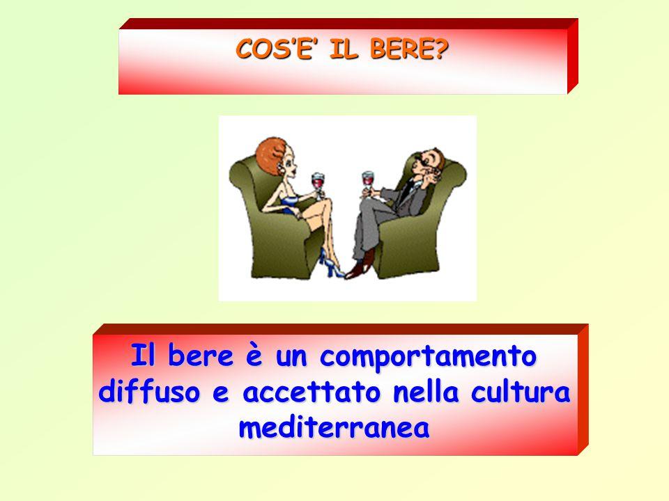 COS'E' IL BERE Il bere è un comportamento diffuso e accettato nella cultura mediterranea