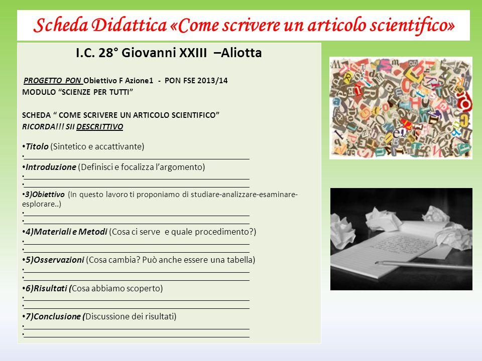 Scheda Didattica «Come scrivere un articolo scientifico»