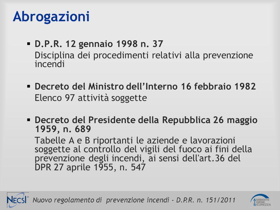 Abrogazioni D.P.R. 12 gennaio 1998 n. 37