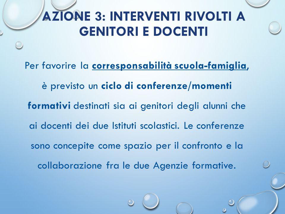 AZIONE 3: INTERVENTI RIVOLTI A GENITORI E DOCENTI