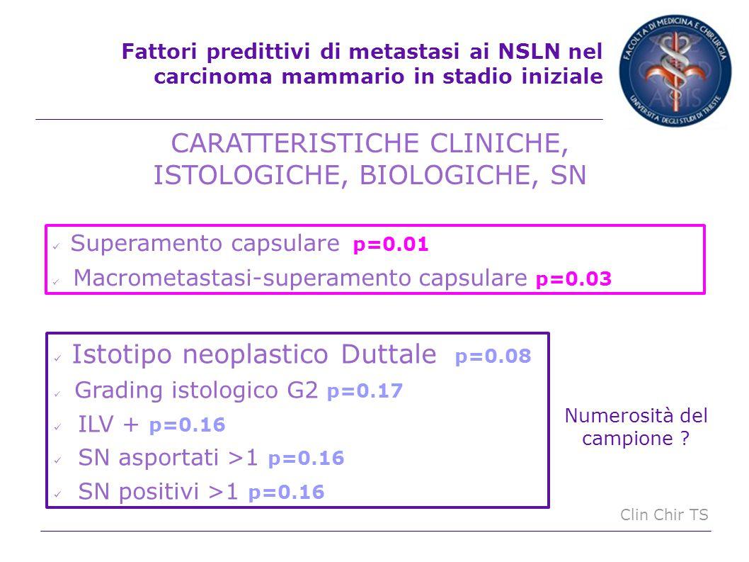 CARATTERISTICHE CLINICHE, ISTOLOGICHE, BIOLOGICHE, SN