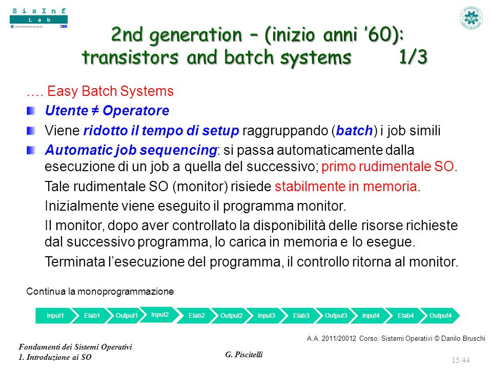 2nd generation – (inizio anni '60): transistors and batch systems 1/3
