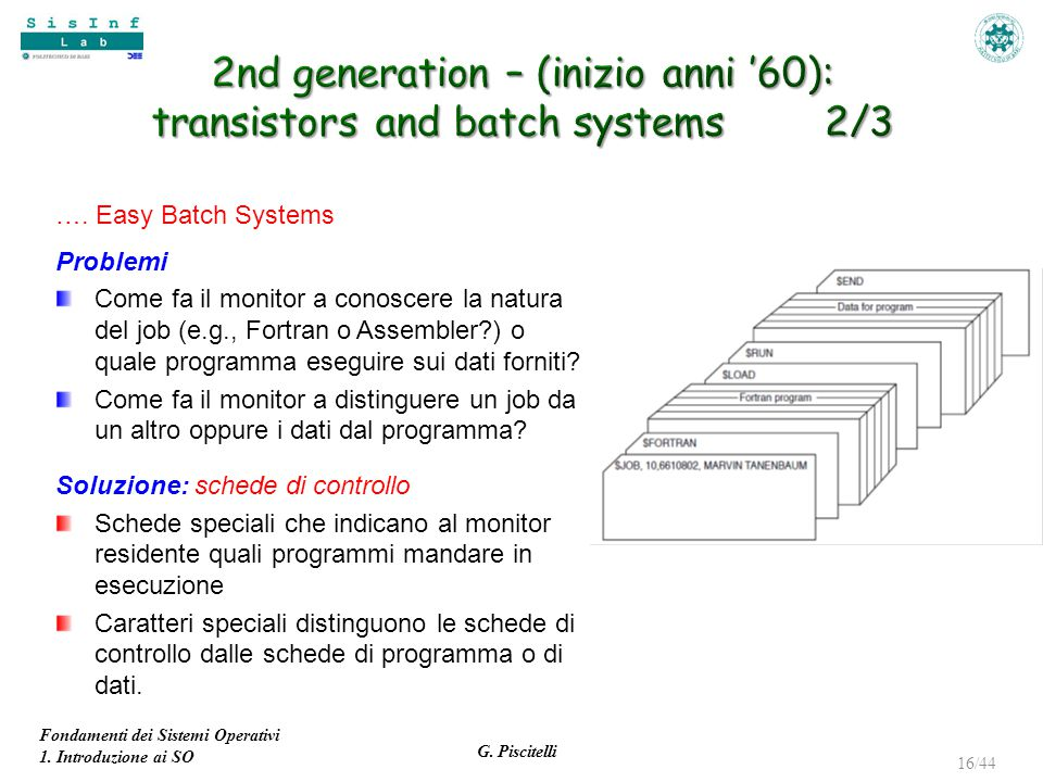 2nd generation – (inizio anni '60): transistors and batch systems 2/3