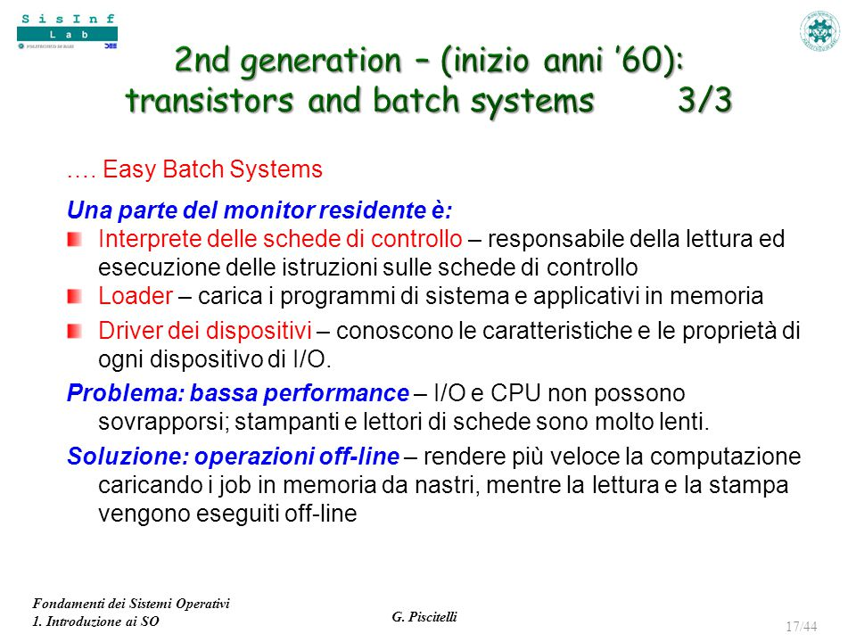 2nd generation – (inizio anni '60): transistors and batch systems 3/3