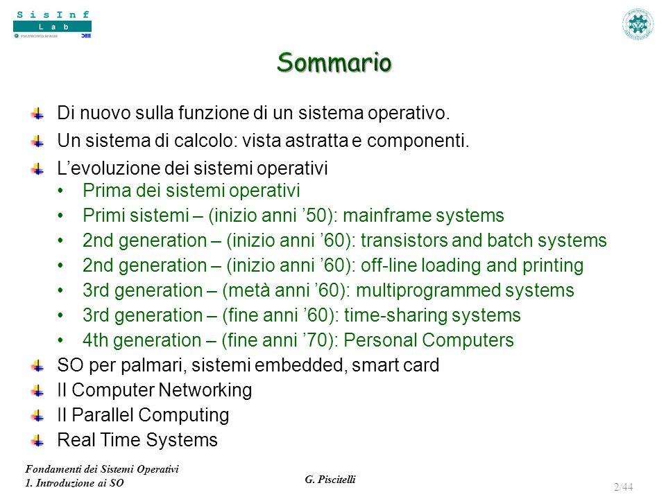 Sommario Di nuovo sulla funzione di un sistema operativo.