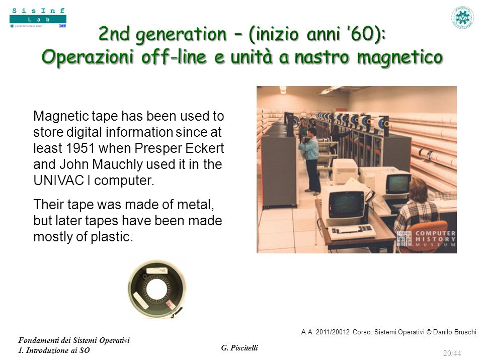 2nd generation – (inizio anni '60): Operazioni off-line e unità a nastro magnetico