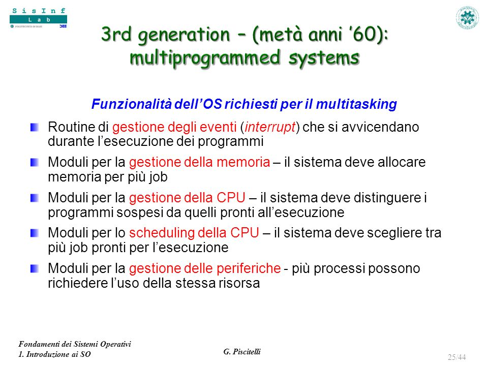 3rd generation – (metà anni '60): multiprogrammed systems