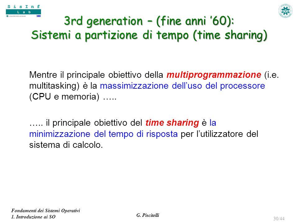 3rd generation – (fine anni '60): Sistemi a partizione di tempo (time sharing)