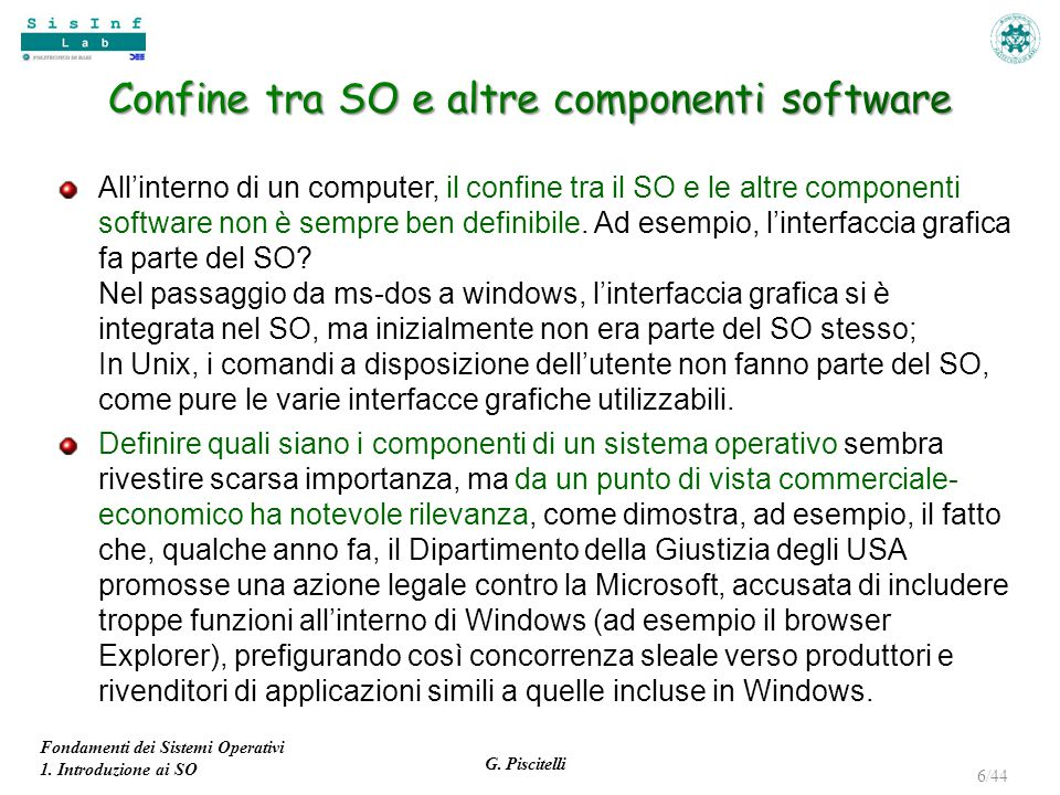 Confine tra SO e altre componenti software