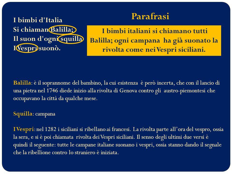 Parafrasi I bimbi d Italia Si chiaman Balilla; Il suon d ogni squilla I Vespri suonò.
