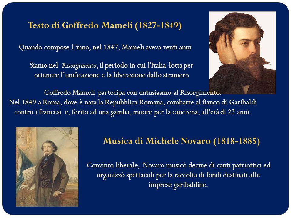 Testo di Goffredo Mameli (1827-1849)