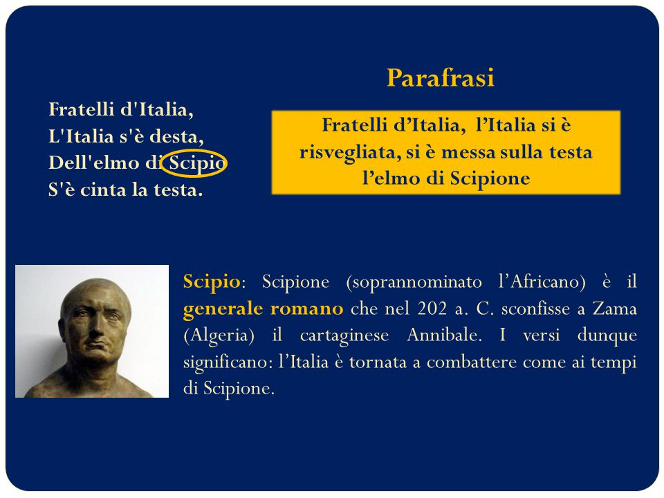 Parafrasi Fratelli d Italia, L Italia s è desta, Dell elmo di Scipio S è cinta la testa.