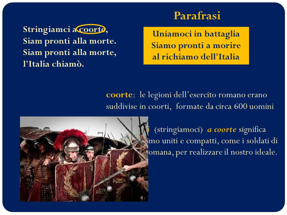 Uniamoci in battaglia Siamo pronti a morire al richiamo dell Italia
