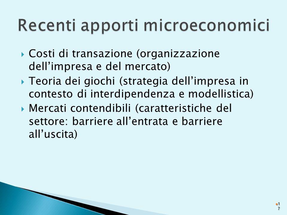Recenti apporti microeconomici