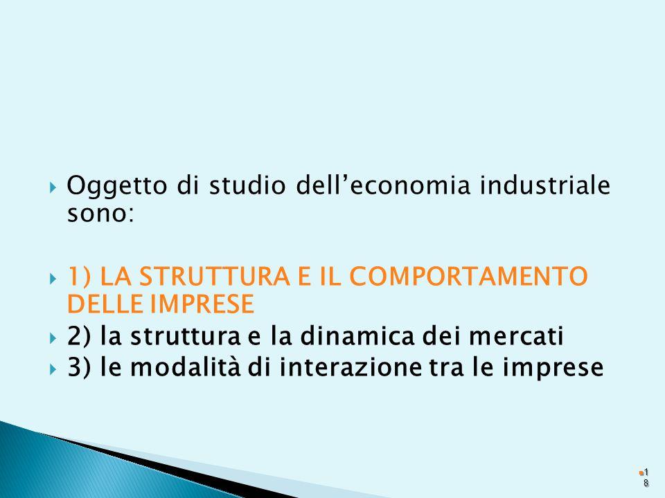 Oggetto di studio dell'economia industriale sono: