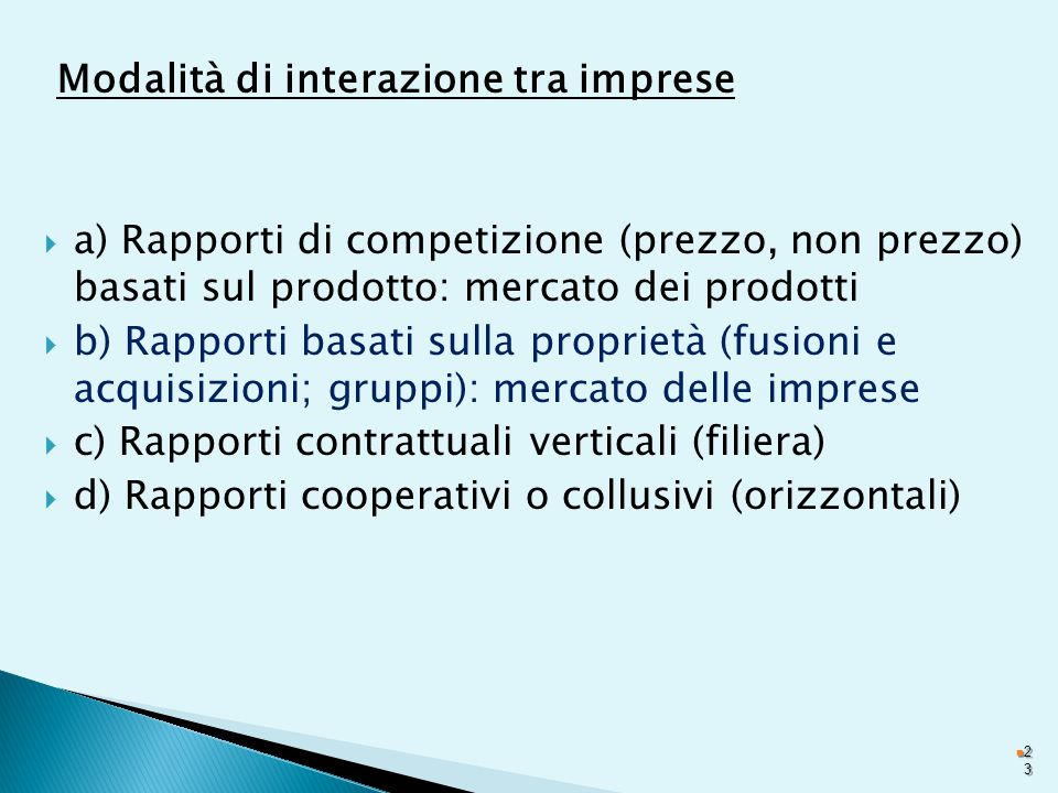 Modalità di interazione tra imprese