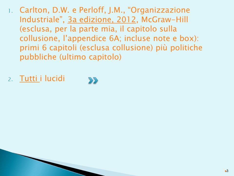 Carlton, D.W. e Perloff, J.M., Organizzazione Industriale , 3a edizione, 2012, McGraw-Hill (esclusa, per la parte mia, il capitolo sulla collusione, l'appendice 6A; incluse note e box): primi 6 capitoli (esclusa collusione) più politiche pubbliche (ultimo capitolo)