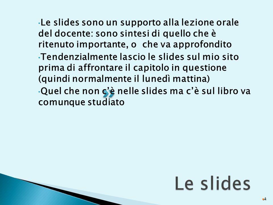 Le slides sono un supporto alla lezione orale del docente: sono sintesi di quello che è ritenuto importante, o che va approfondito