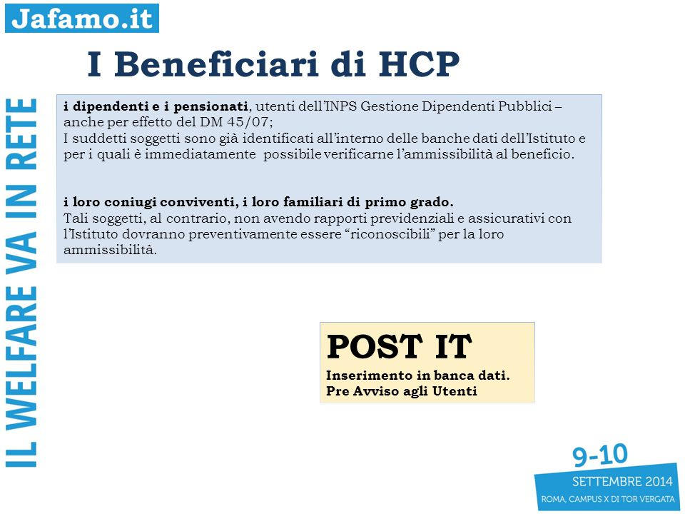 I Beneficiari di HCP POST IT