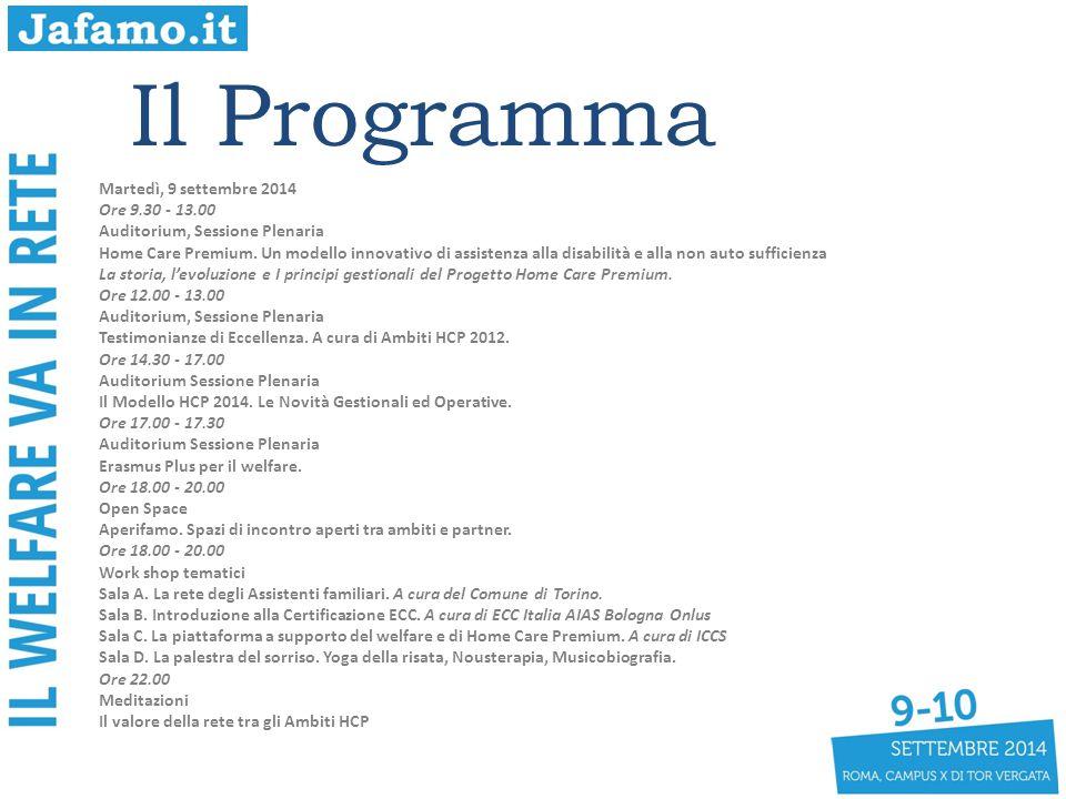 Il Programma Martedì, 9 settembre 2014