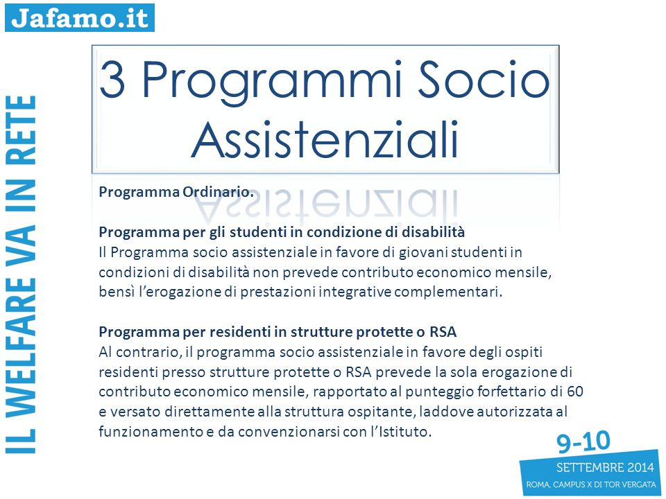 3 Programmi Socio Assistenziali