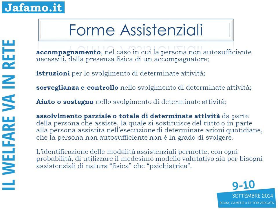 Forme Assistenziali accompagnamento, nel caso in cui la persona non autosufficiente necessiti, della presenza fisica di un accompagnatore;