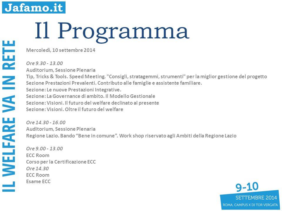 Il Programma Mercoledì, 10 settembre 2014