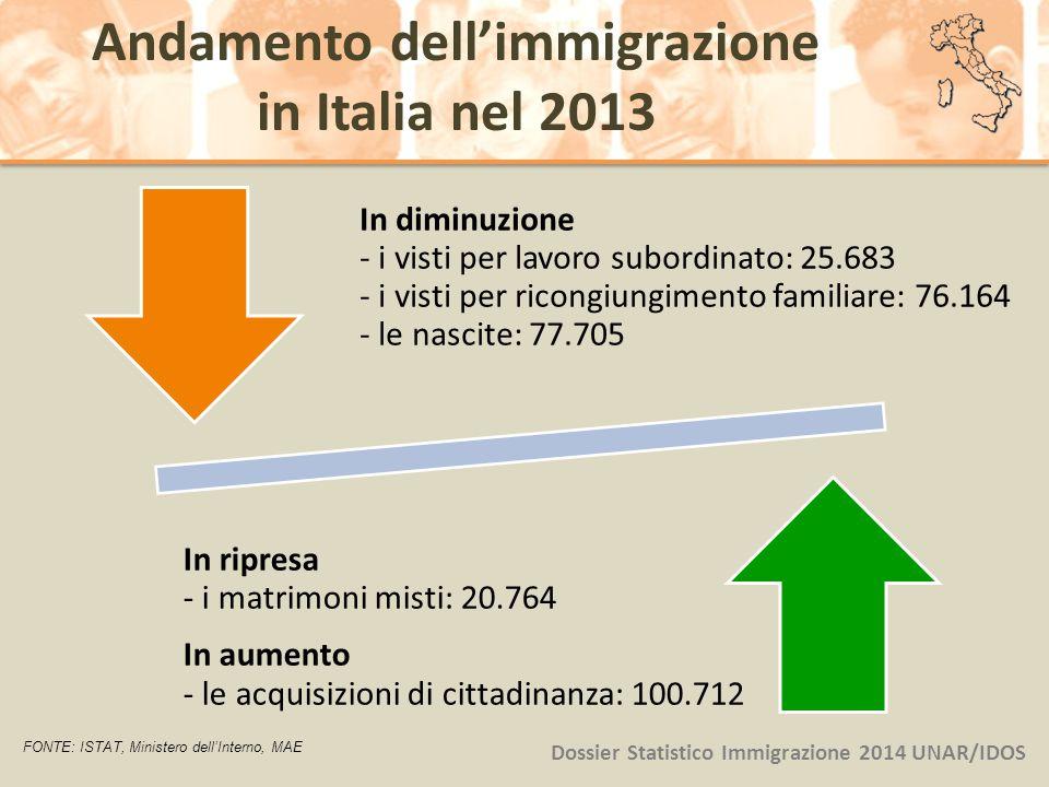 Andamento dell'immigrazione in Italia nel 2013