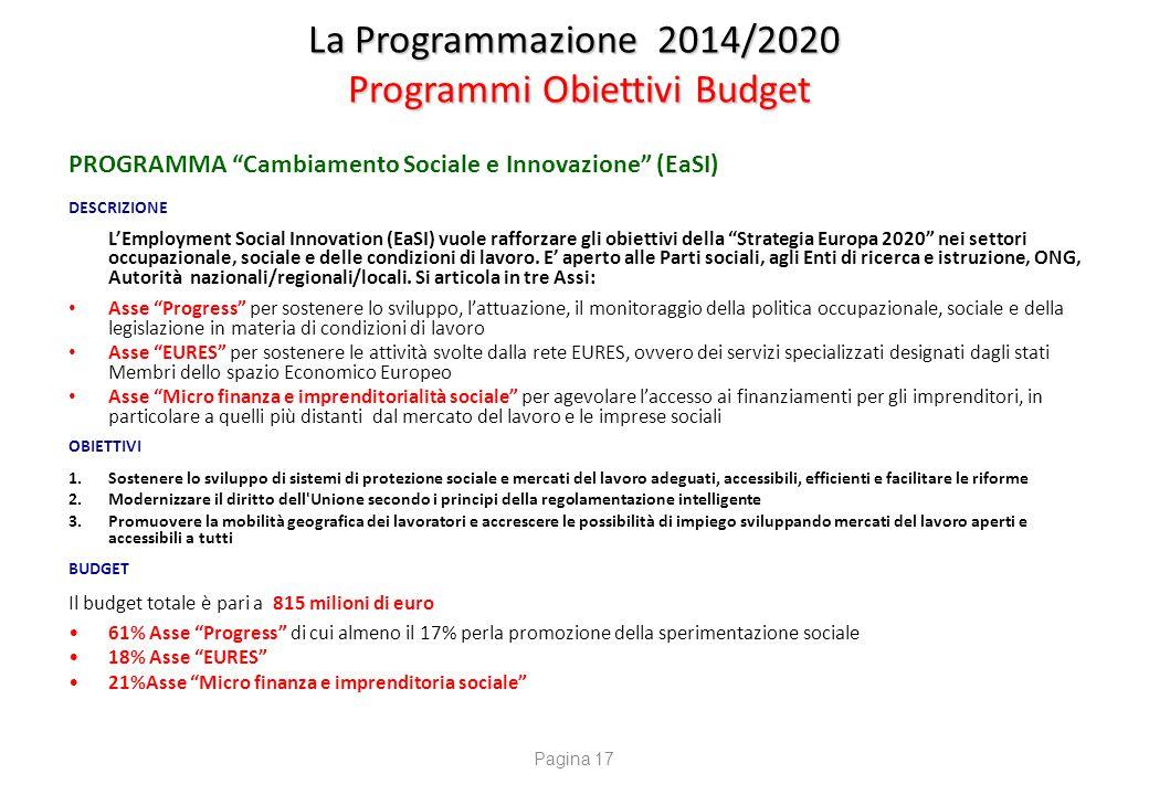 La Programmazione 2014/2020 Programmi Obiettivi Budget