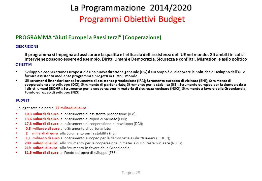 La Programmazione 2014/2020 Fondi UE indiretti – Politica di Coesione