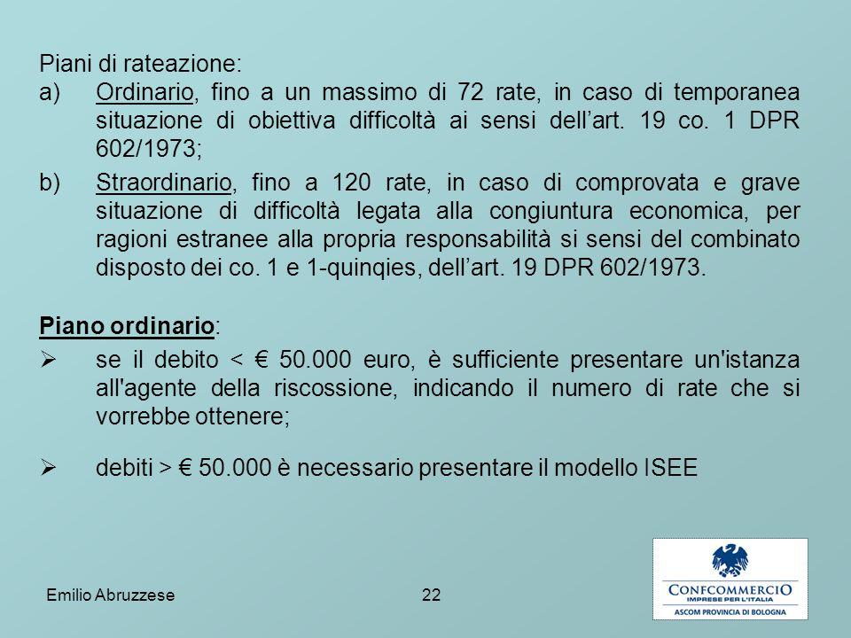 debiti > € 50.000 è necessario presentare il modello ISEE