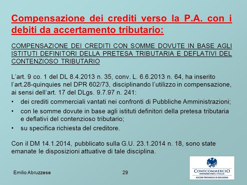 Compensazione dei crediti verso la P. A