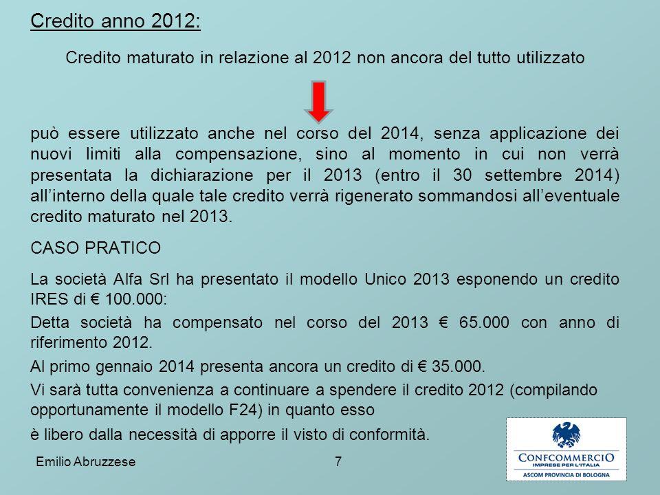 Credito maturato in relazione al 2012 non ancora del tutto utilizzato