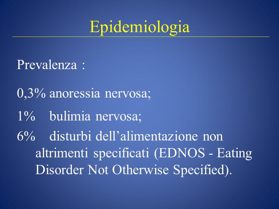 Epidemiologia Prevalenza : 0,3% anoressia nervosa; 1% bulimia nervosa;