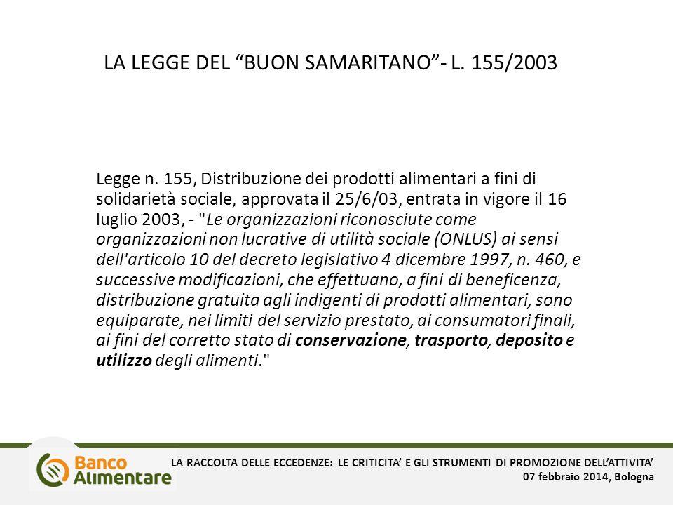 LA LEGGE DEL BUON SAMARITANO - L. 155/2003