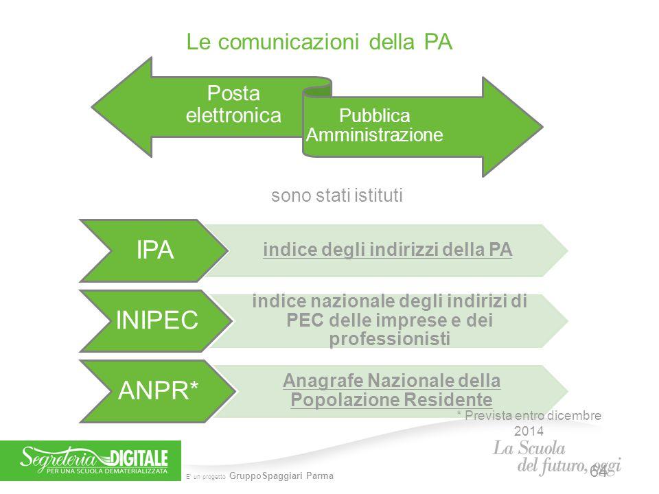 IPA INIPEC ANPR* Le comunicazioni della PA Posta elettronica