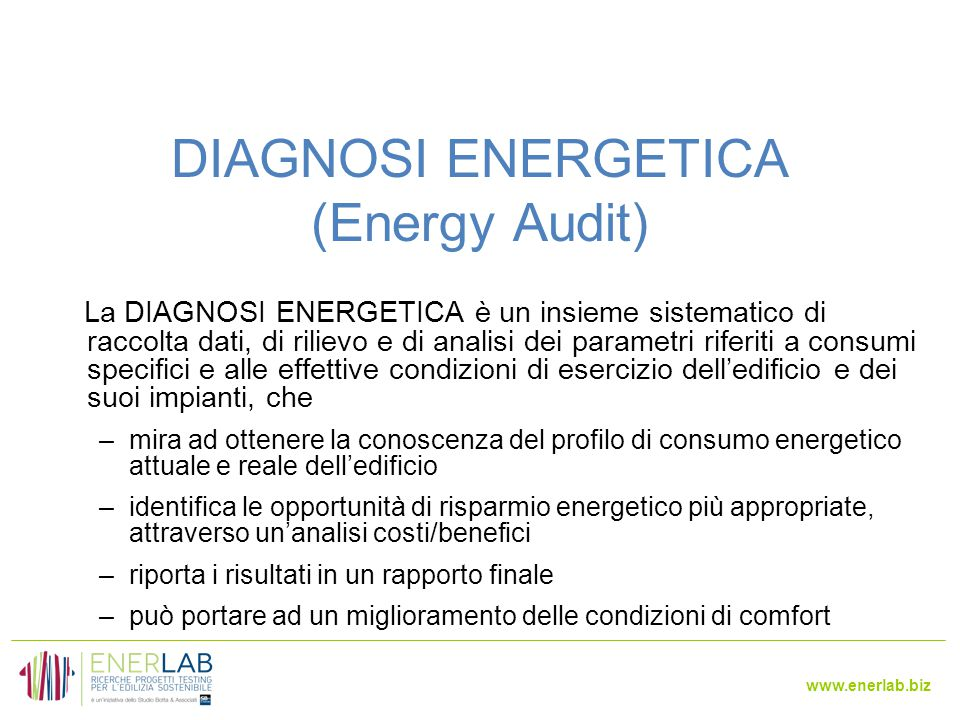 DIAGNOSI ENERGETICA (Energy Audit)