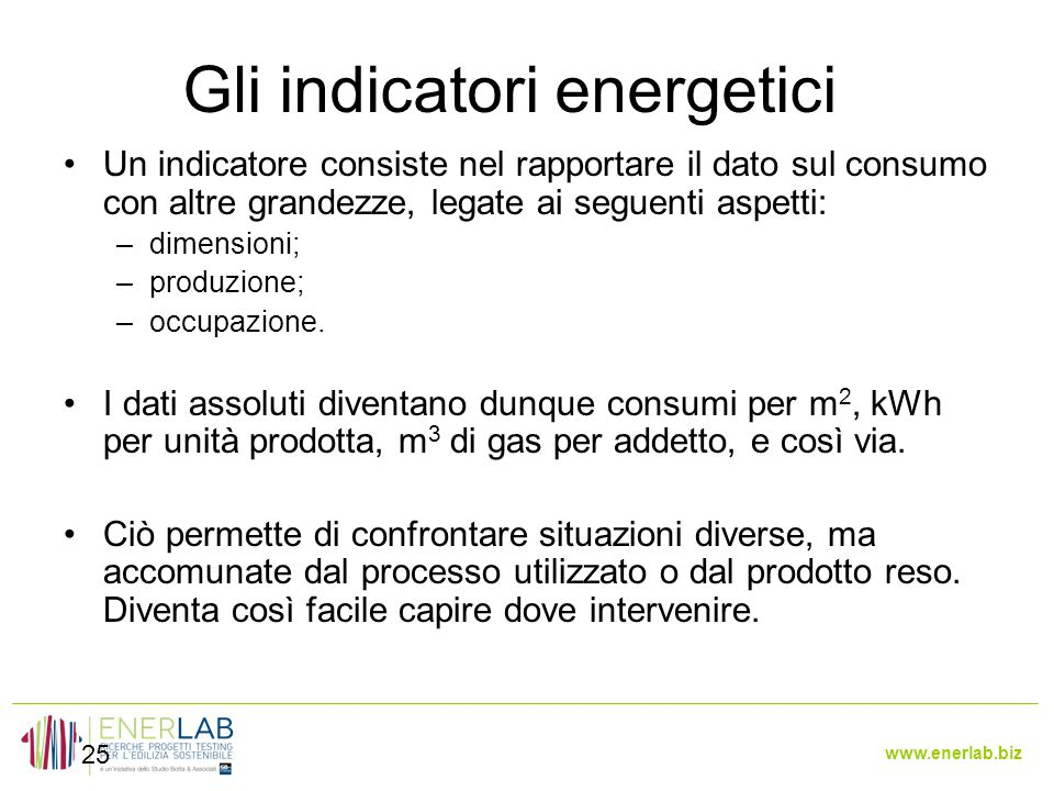 Gli indicatori energetici