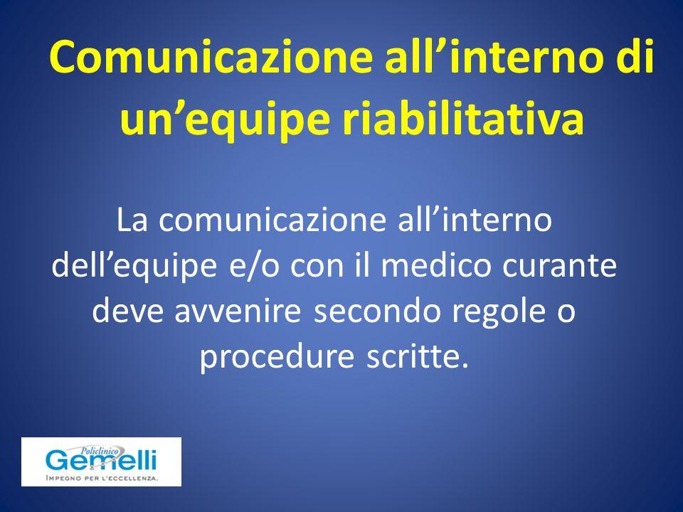 Comunicazione all'interno di un'equipe riabilitativa