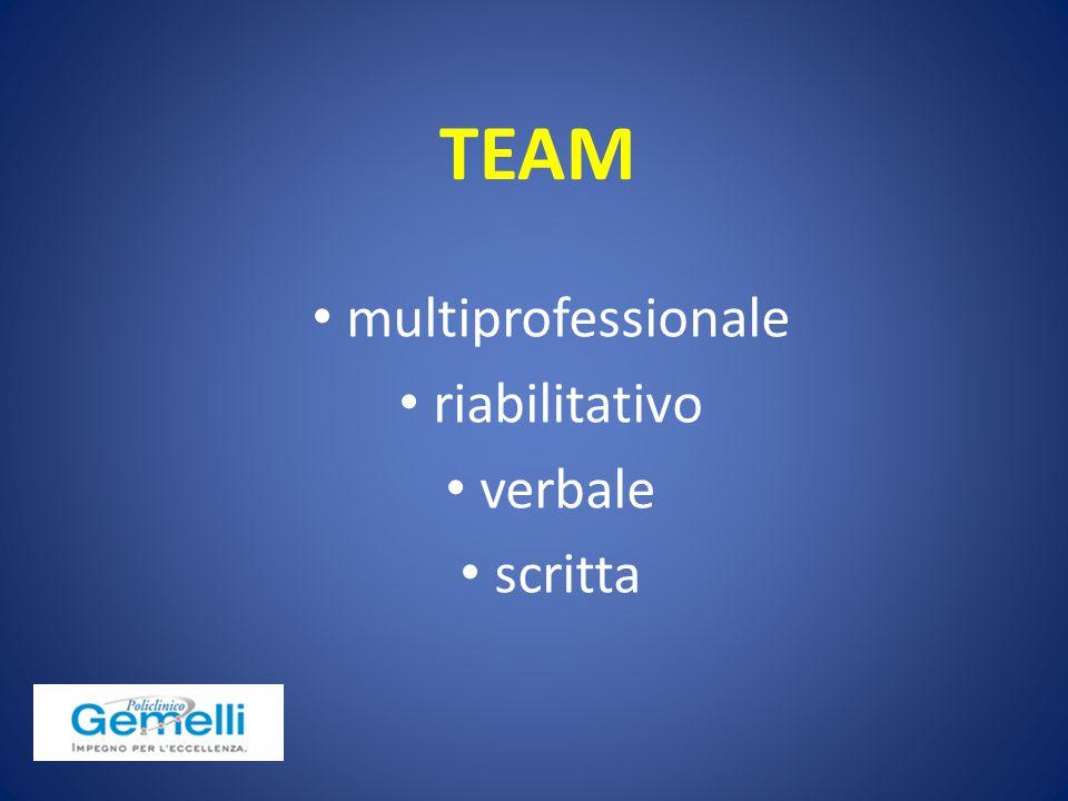 multiprofessionale riabilitativo verbale scritta