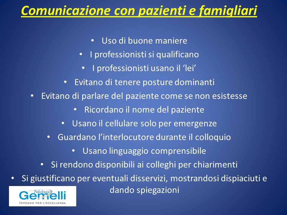 Comunicazione con pazienti e famigliari