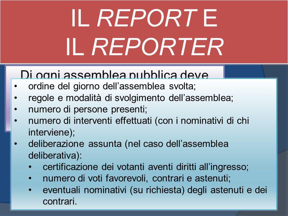 IL REPORT E IL REPORTER. Di ogni assemblea pubblica deve essere sempre redatto un report da cui chiunque ne abbia interesse possa dedurre: