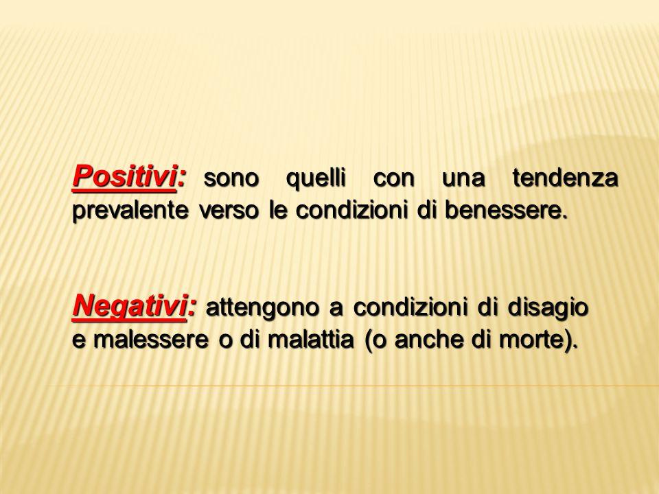 Positivi: sono quelli con una tendenza prevalente verso le condizioni di benessere.