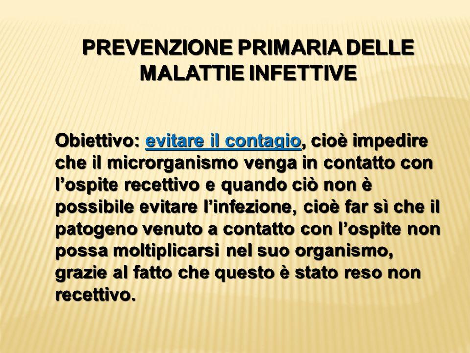 PREVENZIONE PRIMARIA DELLE MALATTIE INFETTIVE
