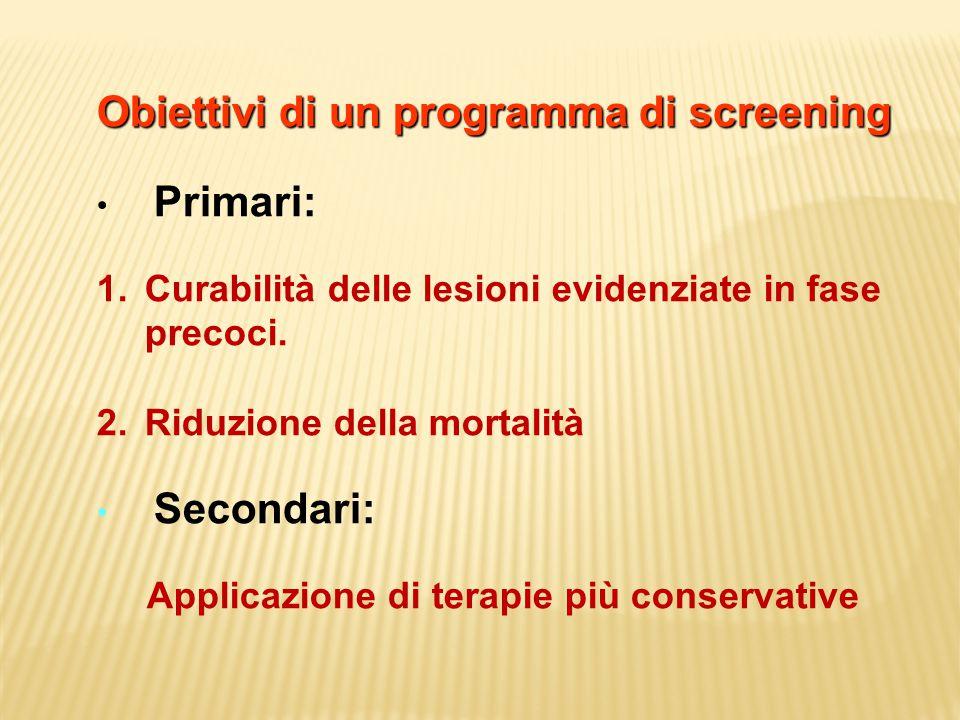 Obiettivi di un programma di screening